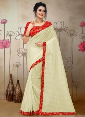 Cream Woven Traditional Saree