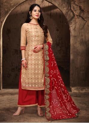 Cream Zari Salwar Suit