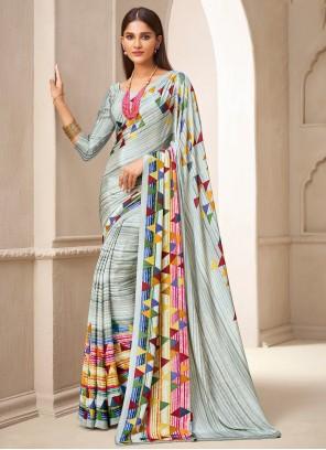 Crepe Silk Abstract Print Traditional Saree