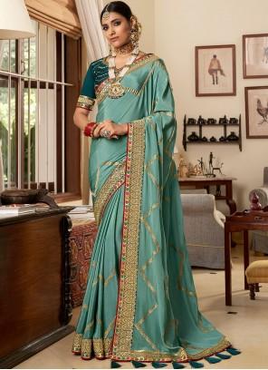 Crepe Silk Aqua Blue Classic Designer Saree