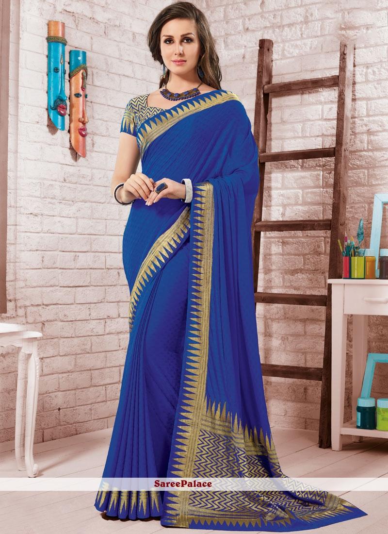 Crepe Silk Blue Fancy Traditional Saree