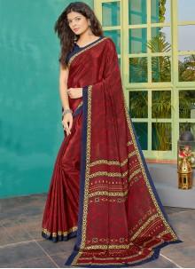 Maroon Crepe Silk Designer Saree