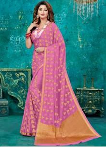Crepe Silk Designer Traditional Saree in Pink