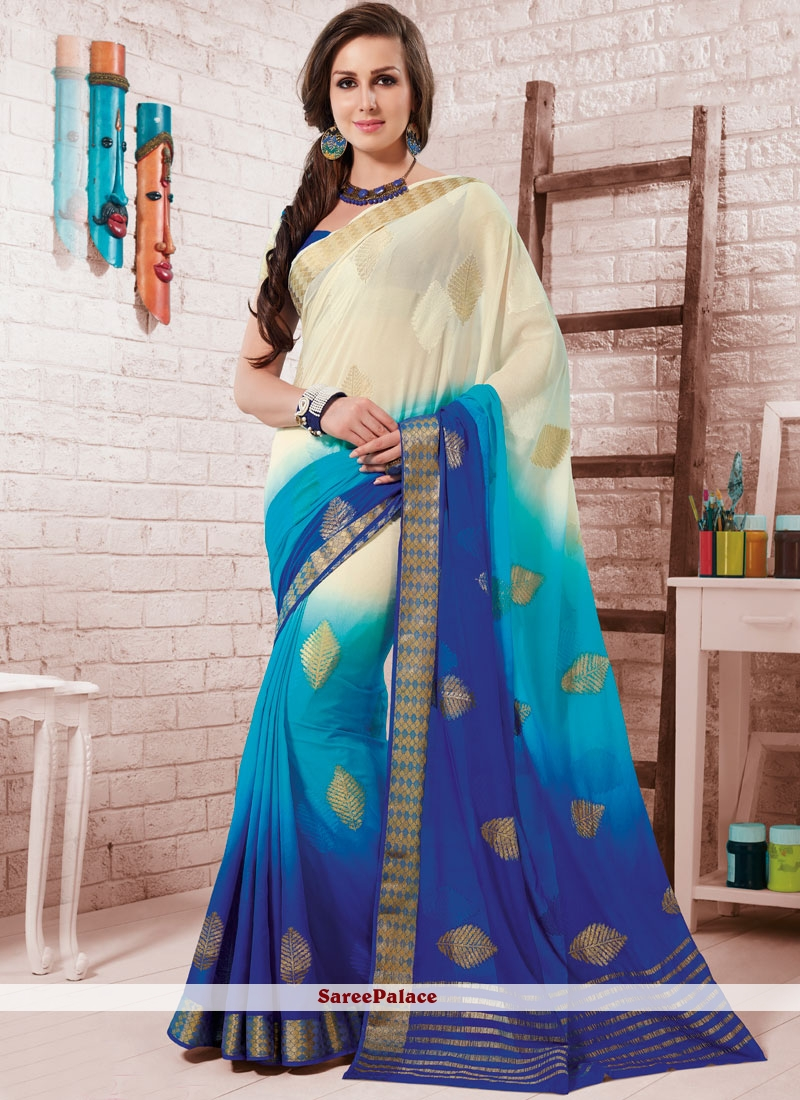 Crepe Silk Fancy Blue and White Shaded Saree