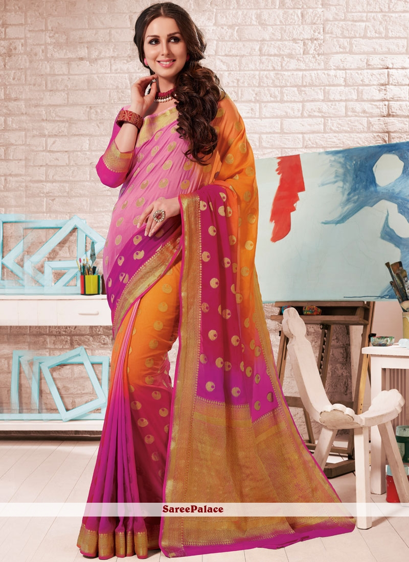 Crepe Silk Fancy Multi Colour Shaded Saree