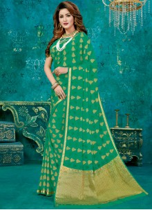 Crepe Silk Green Weaving Designer Traditional Saree