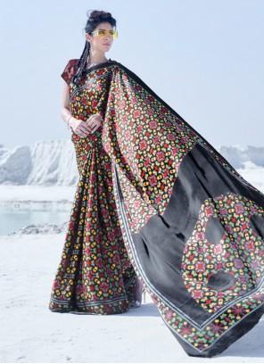 Crepe Silk Multi Colour Printed Casual Saree
