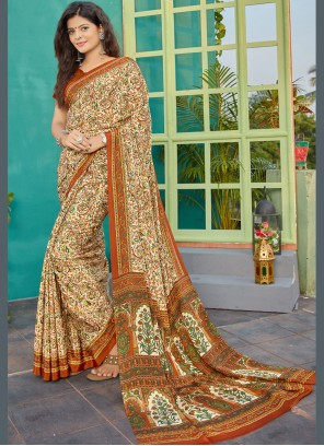 Crepe Silk Multi Colour Printed Classic Saree