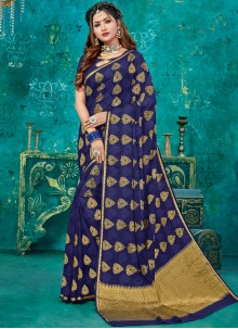 Crepe Silk Navy Blue Weaving Designer Traditional Saree