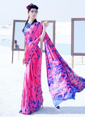 Crepe Silk Party Pink Classic Saree