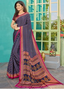 Crepe Silk Party Blue Traditional Saree