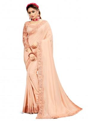 Crepe Silk Patch Border Peach Designer Saree
