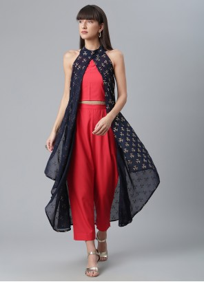 Crepe Silk Printed Blue and Red Party Wear Kurti