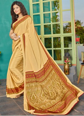 Crepe Silk Printed Cream Bollywood Saree