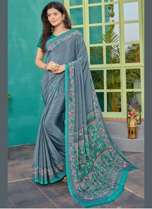 Crepe Silk Printed Designer Saree in Grey