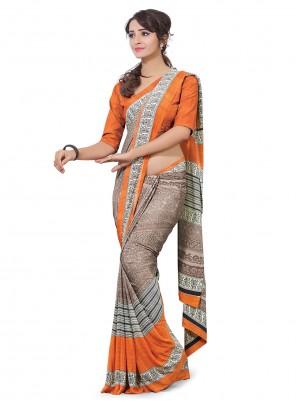 Brown And Orange Crepe Silk Printed Half N Half  Saree
