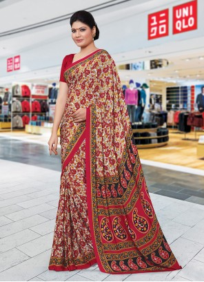 Crepe Silk Printed Multi Colour Trendy Saree