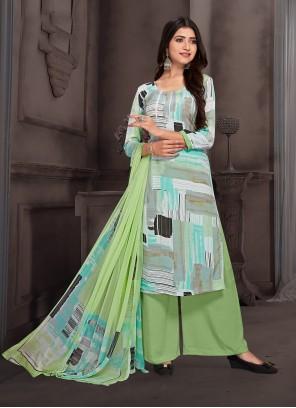 Multi Colour Crepe Silk Printed Palazzo Salwar Kameez