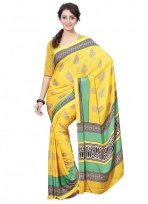Crepe Silk Printed Trendy Saree in Yellow