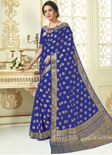 Blue Crepe Silk Traditional Saree