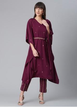 Crepe Silk Wine Thread Work Party Wear Kurti