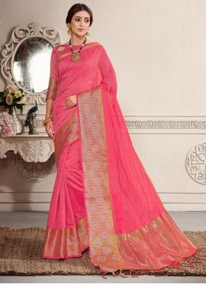 Crimson Weaving Banarasi Silk Traditional Saree
