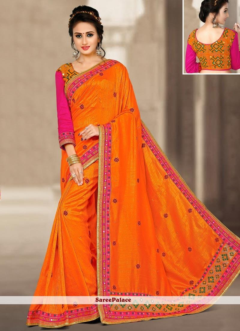 Customary Art Silk Embroidered Work Traditional Designer Saree