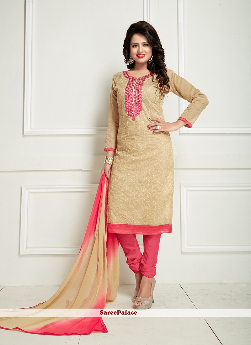 Customary Chanderi Beige and Rose Pink Embroidered Work Churidar Suit