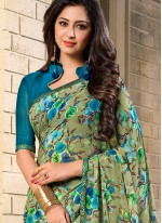 Customary Green Georgette Casual Saree