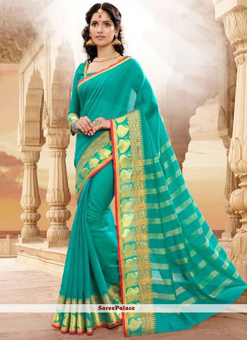 Customary Patch Border Work Sea Green Traditional  Saree