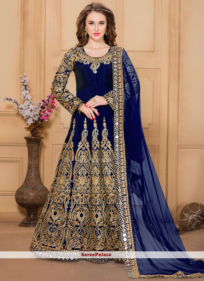 652124e790 Buy Customary Tafeta silk Embroidered Work Designer Floor Length Suit Online
