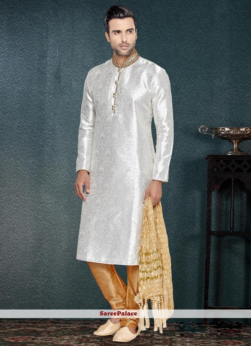 Cutdana Brocade Kurta Pyjama in Off White