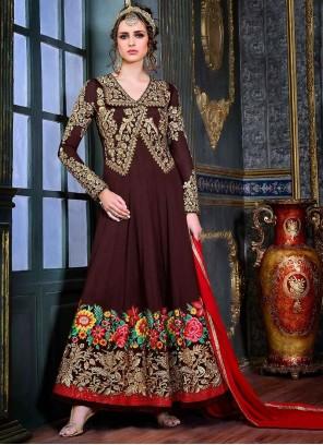 Cute Brown Anarkali Suit