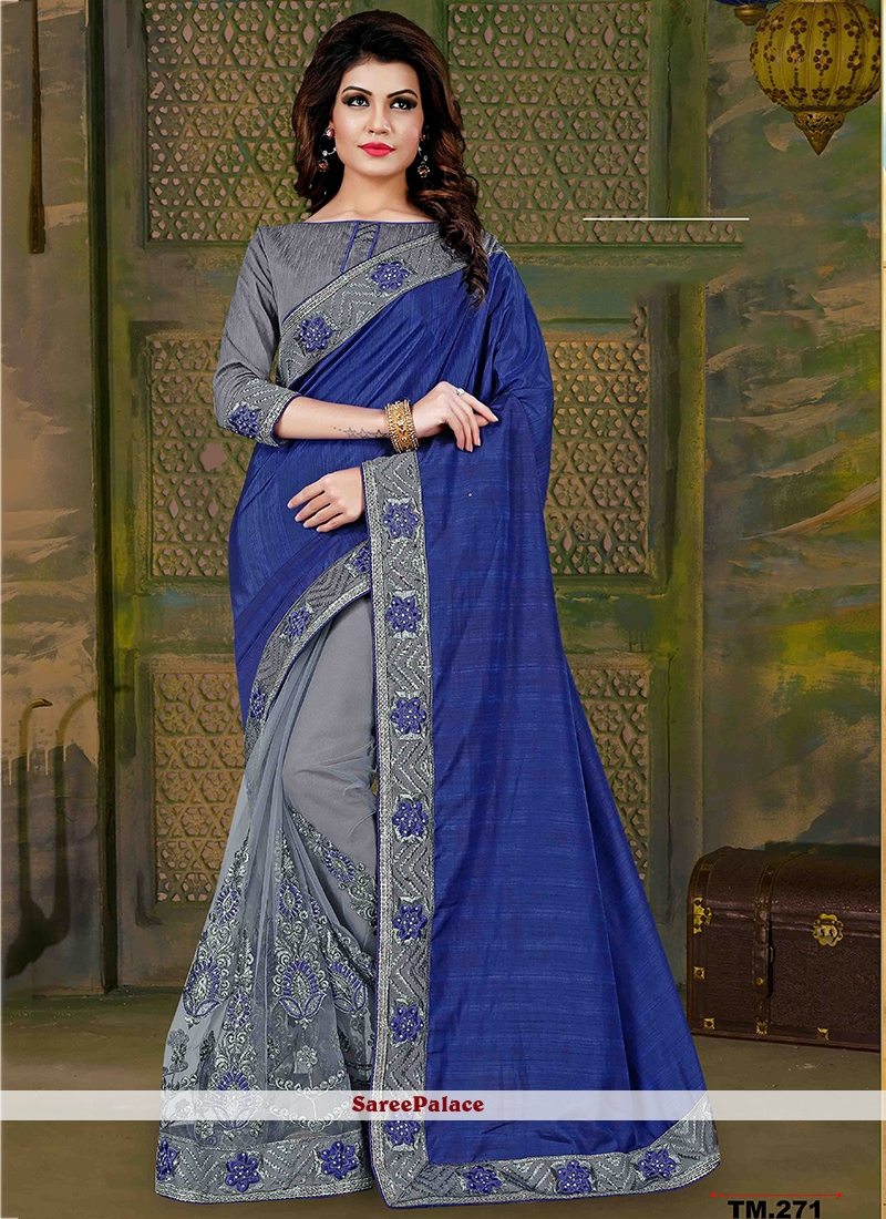 Dainty Blue and Grey Patch Border Work Traditional  Saree