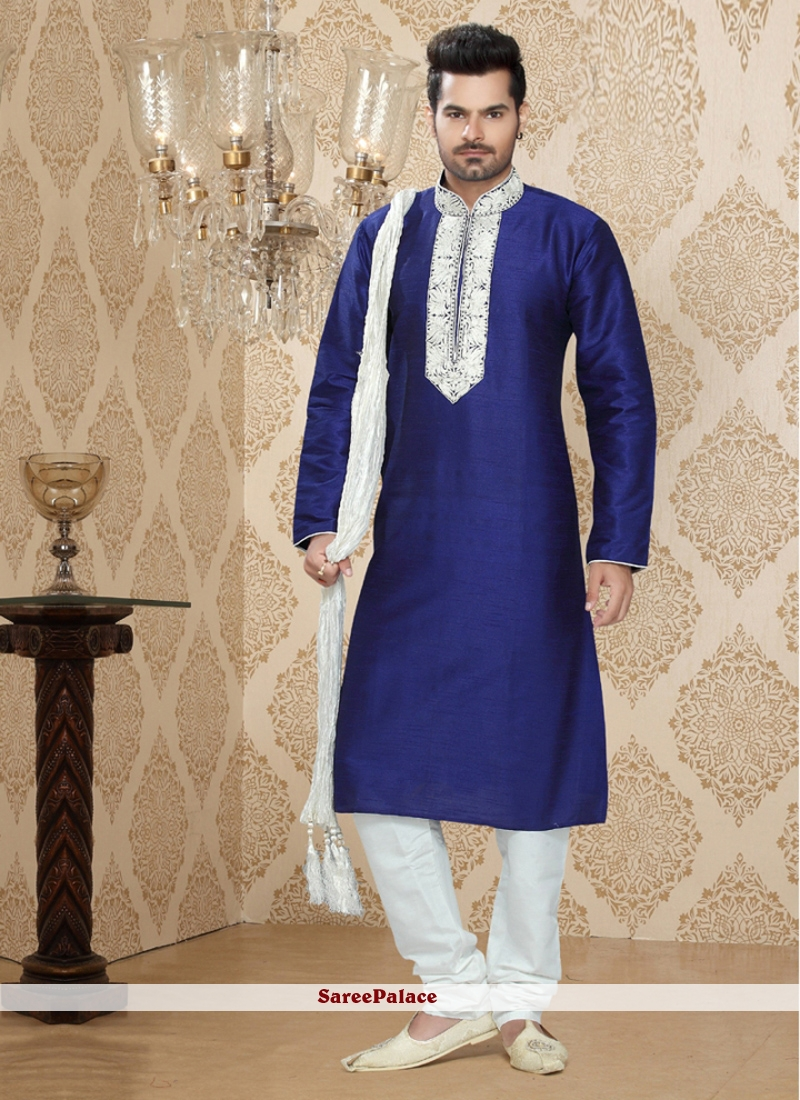 Dainty Blue Art Silk Kurta Pyjama