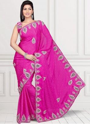 Dainty Crystal Work Hot Pink Satin Classic Saree