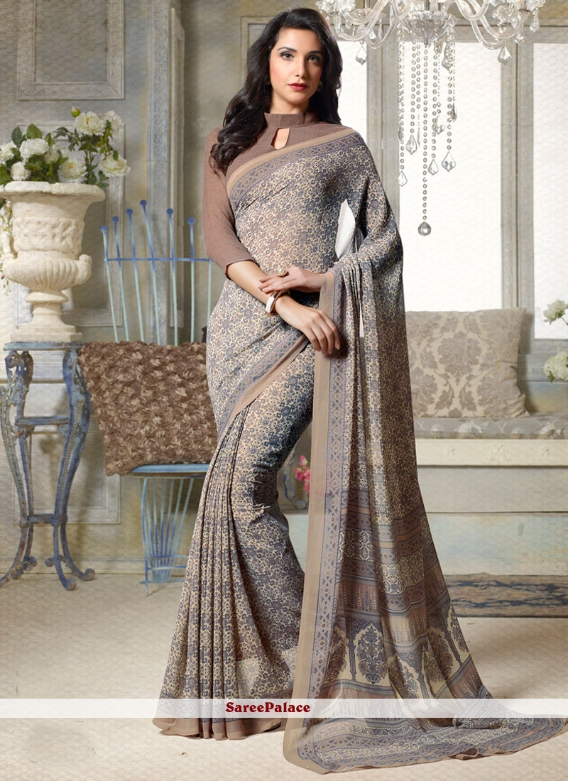 Dainty Faux Georgette Grey Printed Saree