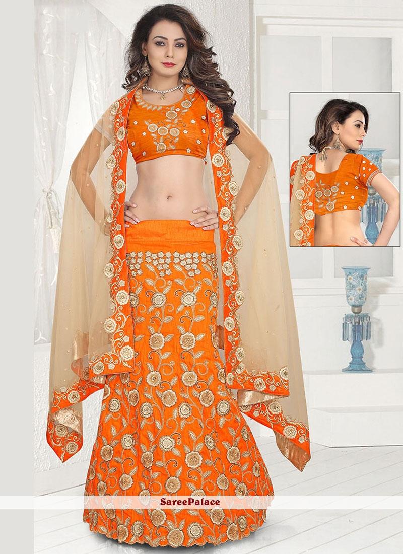 Dainty Orange Resham Work Lehenga Choli