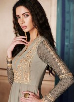 Dainty Zari Work Grey Georgette Anarkali Salwar Kameez
