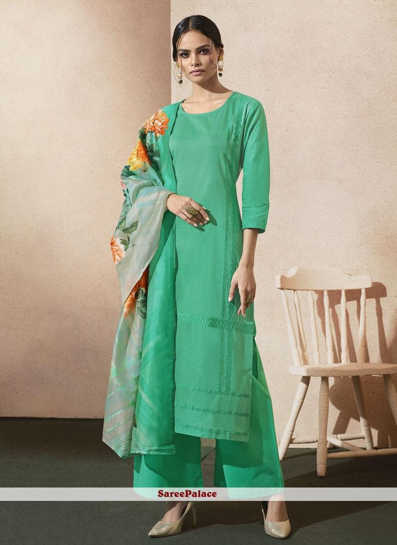 Dashing Cotton   Sea Green Designer Palazzo Suit