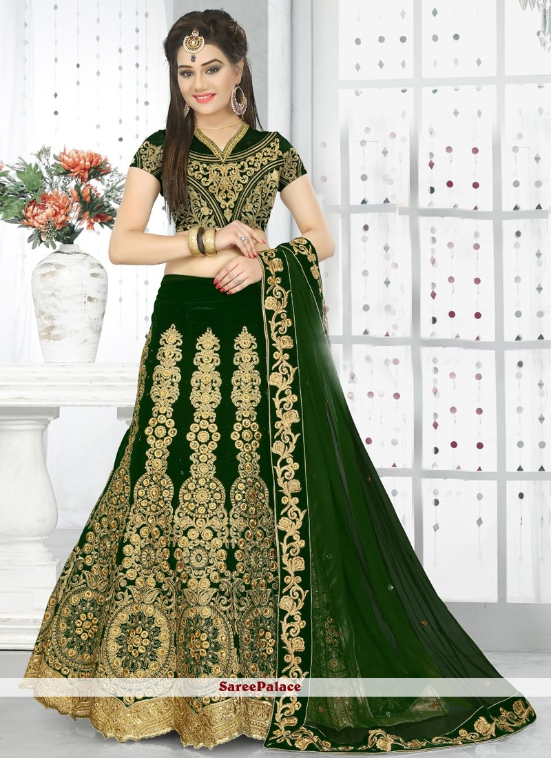 Dashing Green Embroidered Work A Line Lehenga Choli