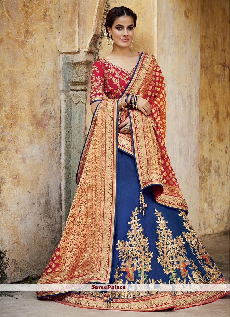 Dashing Tussar Silk Embroidered Work Lehenga Choli
