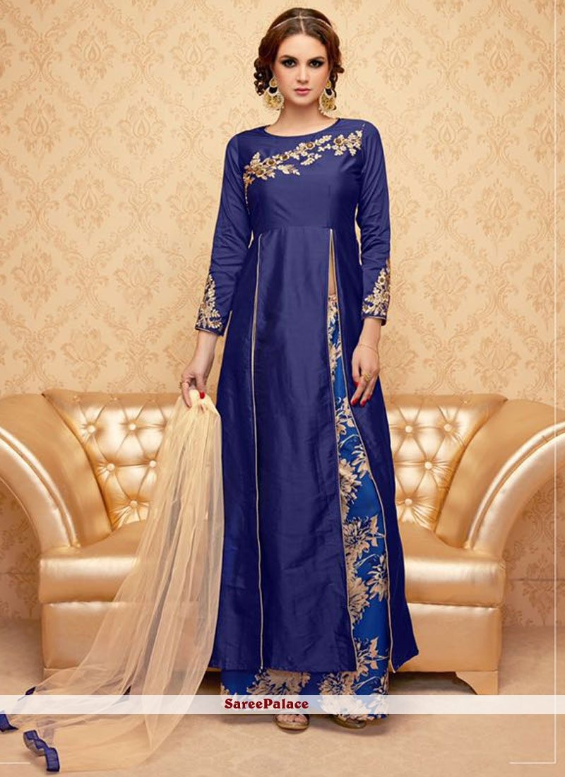 Dazzling Blue Embroidered Work Designer Palazzo Suit