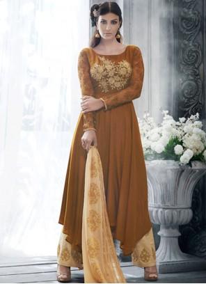 Dazzling Handloom silk Resham Work Designer Suit