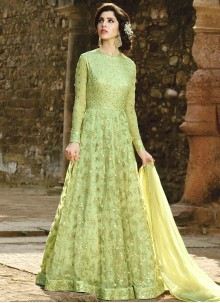 Dazzling Pista Green Lace Work Floor Length Anarkali Suit