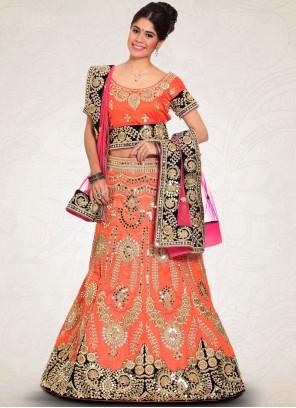 Dazzling Raw Silk Orange Lehenga Choli