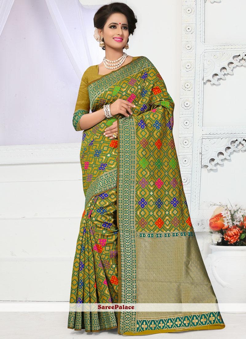 Delectable Banarasi Silk Green Weaving Work Traditional Designer Saree