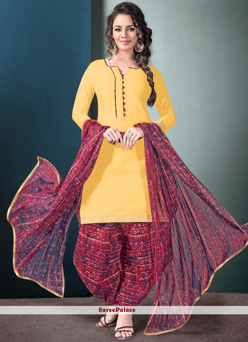 a96fe0f8a9 Buy Delectable Blended Cotton Multi Colour and Yellow Punjabi Suit Online