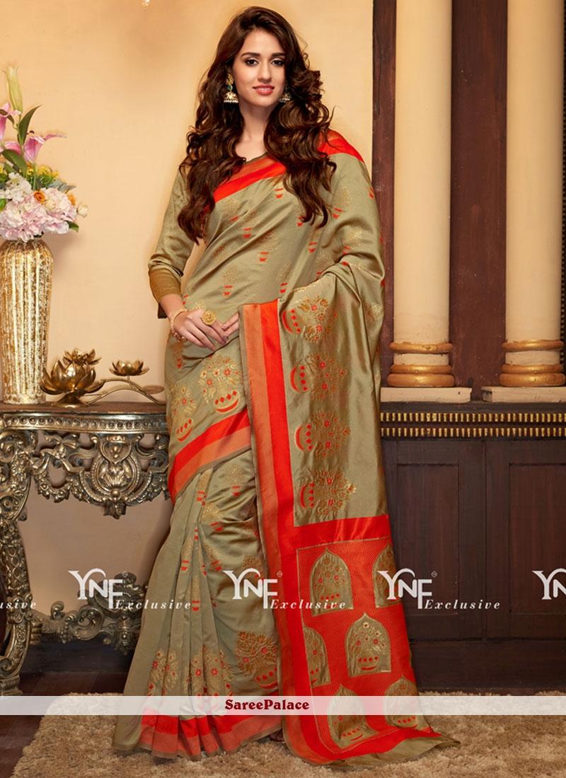 Delectable Cotton Silk Weaving Work Designer Traditional Saree