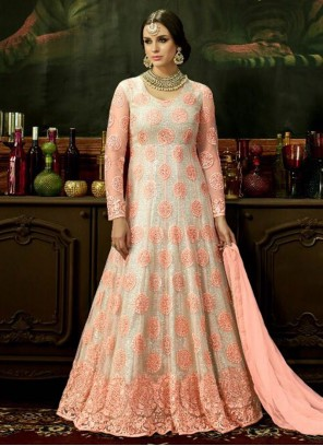 Delectable Net Pink and White Floor Length Anarkali Suit